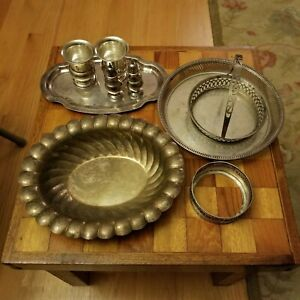 Sterling Silver And 800 Silver Lot 738 Grams Plate Bowl Shakers Cups Scrap Use