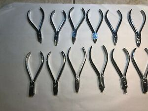 12 Surgical Orthodontic Dental Pliers Wire Bending Assorted Instruments