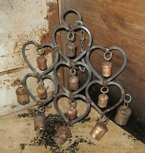 Wrought Iron Heart Cow Bells Wind Chime Primitive French Country Farmhouse Decor