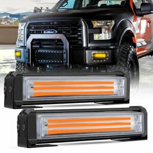 2x Amber 40w Led Emergency Warning Strobe Lights Bars Deck Dash Grill Truck