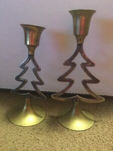 International Handmade Silver Plated Brass Christmas Tree Candle Holders