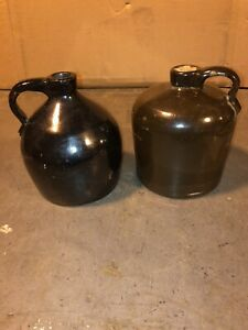 2 Antique Brown Whiskey Jugs 8 Tall With 6 Bases Beehive Shape Has Fine Crack