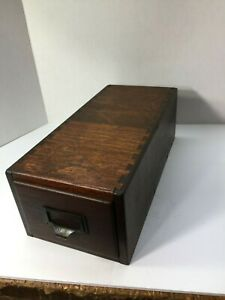 Antique Solid Oak Tongue Groove Library Card File Circa Early 1900 S
