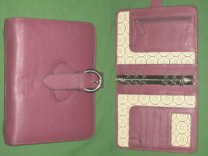 Compact 1 5 Red Leather Franklin Covey Planner Open Binder Organizer 2230