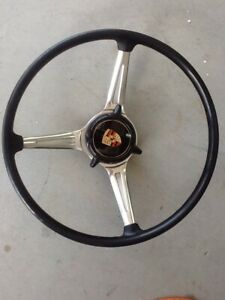 Porsche 356 Steering Wheel Complete W Center Button Logo Rare Black