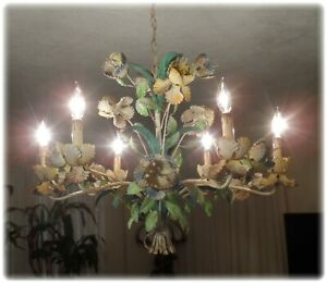 Vintage Italian Tole Orchid Flowers 6 Light Shabby Rusty Large Chandelier