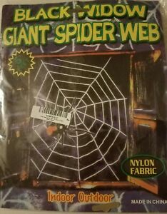 Black Widow Giant Spider Web Indoor Outdoor Nylon Fabric 5#x27; Feet BLACK New