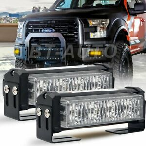 Pair 20w Amber Led Emergency Warning Strobe Lights Bars For Deck Dash Grill