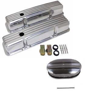 For 58 86 Sbc Chevy 350 Polished Aluminum Valve Covers 12 Oval Air Cleaner Kit