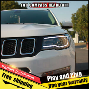 For Jeep Compass Headlights Assembly Bi Xenon Lens Double Beam Hid Kit 2018 2019
