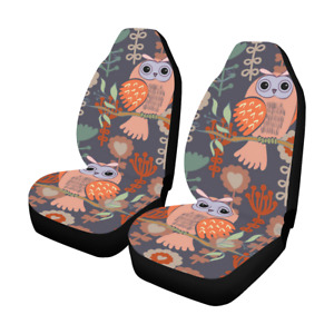 Front Car Seat Covers Colorful Owls Fabric Protector Cases For Sedan Truck Suv