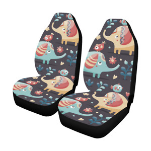 Front Car Seat Covers Cute Elephants Fabric Protector Cases For Sedan Truck Suv