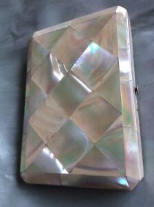Antique Victorian Mother Of Pearl Business Calling Visiting Card Case Top Cond