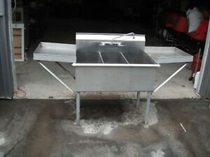Stainless Steel Sink 3 Compartment 71 Double Drain Sides
