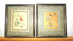Asian Japanese Chinese Embroidery Silk Flowers Birds Framed