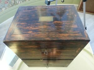 Coromandel Wood Dressing Vanity Case London 1862 Silver Bramah M Pearl Drawers