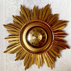 Art Deco Sunburst Wall Clock Gilted Wood Made In France Number 54647 Working