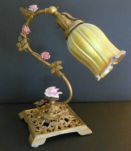 Antique Vintage Gilded Desk Boudoir Art Glass Globe Lamp Porcelain Roses