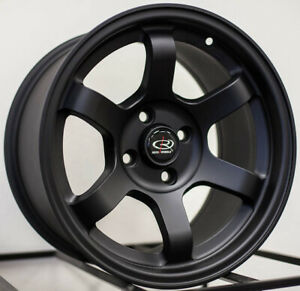 15x8 Rota Grid Concave 5x100 20 Flat Black Rims New Set