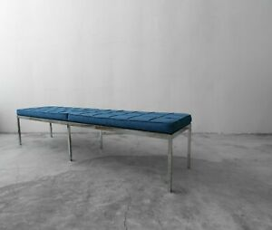 Authentic Early Florence Knoll Chrome Bench In Original Tweed