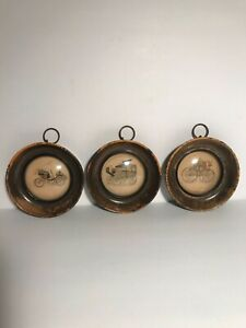Vintage Three Hanging Automobile Pictures Man Cave Or
