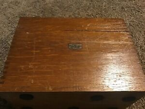 Vintage Weis Oak Card Index File Box Dovetail Jointed Corners Wood Wooden
