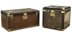 Two Louis Vuitton Antique Steamer Hat Trunks Monogram Original Hardware Titanic