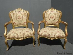 Pair Antique French Louis Xvi Gold Rococo Ornate Accent Chairs