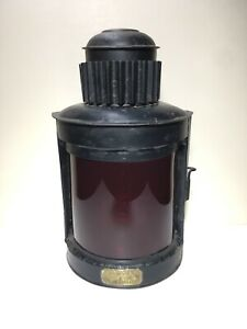 Antique George H Mason Maker Boston Nautical Ship Lantern Lamp Ruby Red Lens Tin
