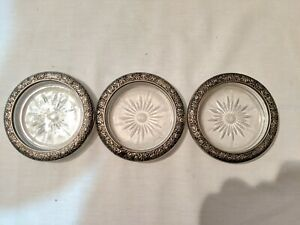 Vintage Towle Silversmith Sterling Silver And Glass Coasters Made In Italy 3qty