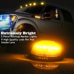 5x Smoked Lens Cab Roof Marker Running Amber Led Lights For Pickup Truck Suv 4x4