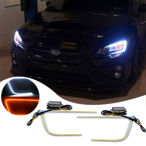 Fit For 2015 2019 Subaru Wrx Sti Headlight C ring Led Drl Strip White amber