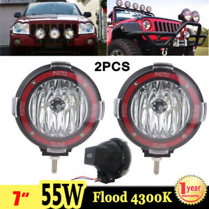 2x 7inch 55w Round Flood Xenon Hid Work Light Offroad Truck 4wd 4300k Fog Lamp