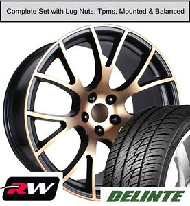 22 Dodge Charger Hellcat Replica Staggered Wheel Tires Tpms Black Bronze Rims