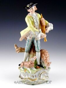 Antique Dresden Carl Thieme Figurine Handpainted Victorian Man Musician Mint