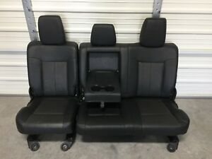 1999 2016 Ford F250 F350 Super Duty Rear Seat Black Leather 60 40 Nice Heated