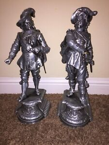 Vintage Musketeers Statues Metal Large Very Hight Grade Qulity Cast