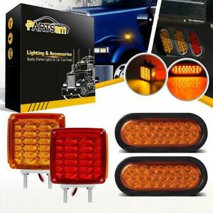 4x Waterproof Stop Turn Tail Parking Light 6 Oval Square Double Face Pedestal