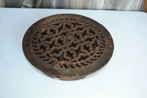 Vintage Victorian Cast Iron Floor Grille Round Heat Grate Register W Louvers