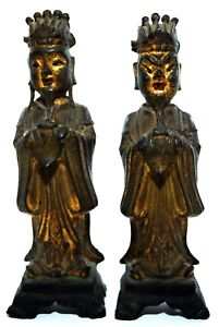 Ming Dynasty Real Chinese Antiques Gilt Bronze Figures Of Standing Dignitaries