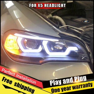 For Bmw X5 E70 Headlights Assembly Bi xenon Lens Double Beam Hid Kit 2007 2013