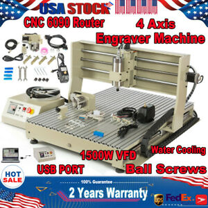 Usb 4 Axis 1 5kw Cnc 6090 Router Engraver Machine Drill Mill Wood Carving Cutter
