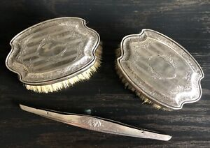 Antique Van Bergh Sp Co Sterling Silver Grooming Set 3 Pc Marked Rare