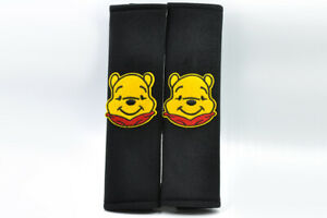 Winnie The Pooh Black Plush Seat Belt Cover Shoulder Pad Cushion Pair