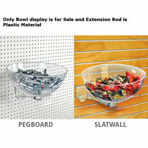 Clear Plastic Retail Hanging Bowl Display 10 D X 16 Dia For Pegboard slatwall