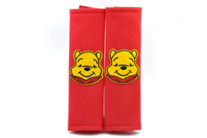 Winnie The Pooh Red Plush Seat Belt Cover Shoulder Pad Cushion Pair