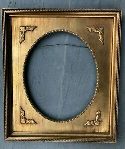 Antique Gold Gilt Wood Frame Oval Victorian 15 X13 Painted 9 X 11 Vintage Large