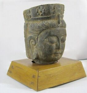 12 Antique Carved Stone Buddha Head With Wooden Stand