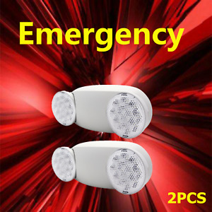 2pcs Led Emergency Exit Light Lamps Standard Fixture Twin Round Heads Universal