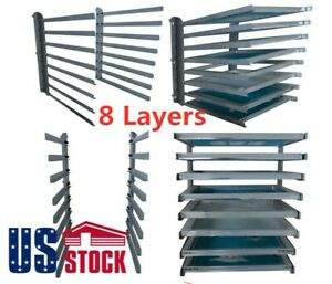 Usa Wall Fixed Screen Printing Shop Rack Cart Holder Frame 8 Layers